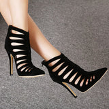 ByChicStyle Casual Black Hollow Out Stripe Pointed Toe High Heel Zipper Sude Ankle Boots