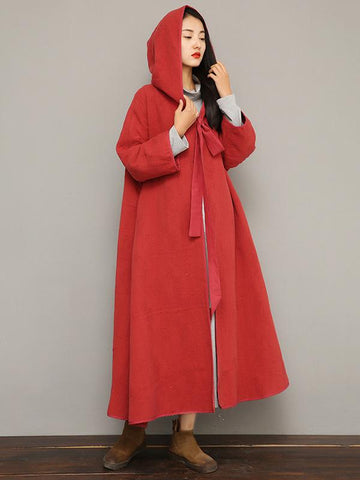 Double Cotton Lace-up Long Cloak