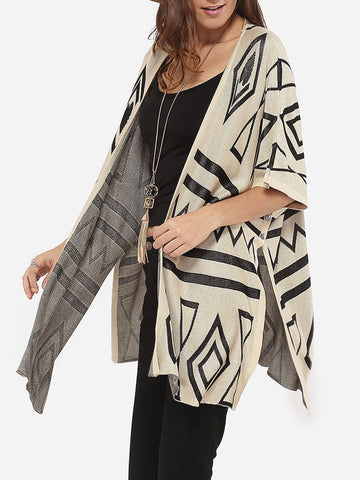 Casual Batwing Loose Fitting Collarless Knit Color Block Geometric Printed Cardigan