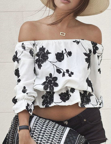 Casual Ecstatic Monochrome Floral Print Bateau Off Shoulder Top