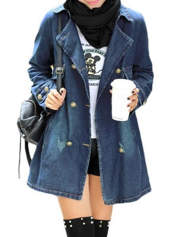 Casual denim Plain Breasted Fabulous Lapel Trench Coats