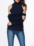 ByChicStyle High Neck Cable Stitch Cutout Plain Sweater - Bychicstyle.com