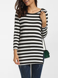 ByChicStyle Casual Round Neck Dacron Split Striped Long-sleeve-t-shirt