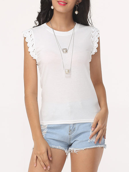 Plain Round Neck Sleeveless T-shirt - Bychicstyle.com