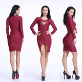 ByChicStyle Red Plain Drawstring Round Neck Polyester Midi Dress