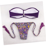 ByChicStyle Purple Floral 2-in-1 Tassel Chain Bandeau V-neck Swimwear