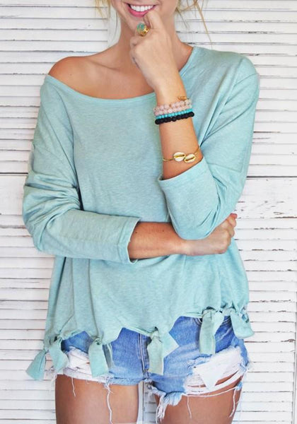 Light Green Tassel Round Neck Long Sleeve Casual T-Shirt