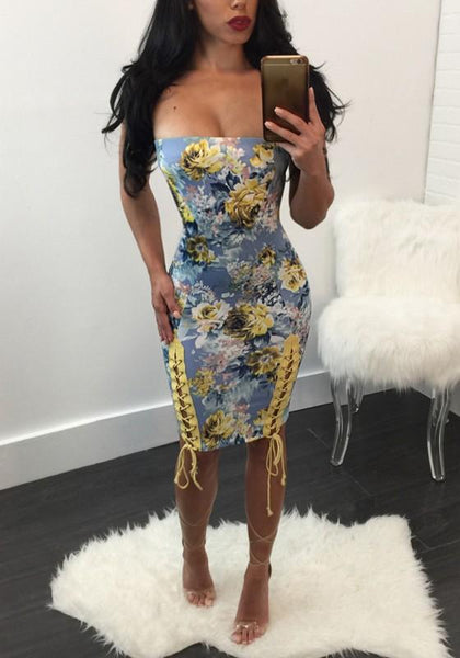 Blue Flowers Print Bandeau Backless Lace Up Midi Dress