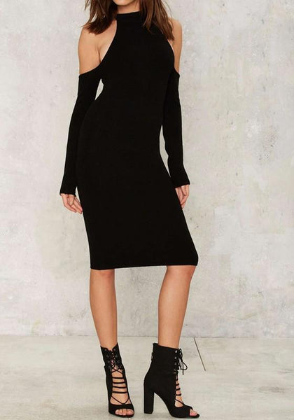 Black Cut Out Zipper Off Shoulder Round Neck Long Sleeve Midi Dress
