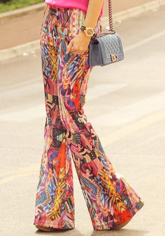 Orange Tribal Floral Print High Waisted Bohemian Bell Bottom Long Flare Pants