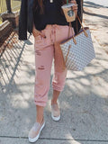 ByChicStyle New Pink Pockets Cut Out Drawstring Fashion Long Pants