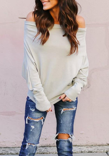 Grey Off Shoulder Backless Going out Casual T-Shirt