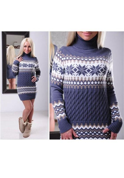 Purple Floral High Neck Long Sleeve Fashion Christmas Pullover Sweater