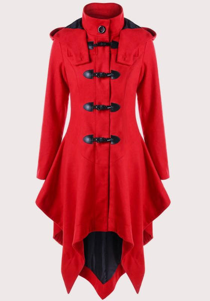 Red Irregular Band Collar High Neck Long Sleeve Cardigan Coat
