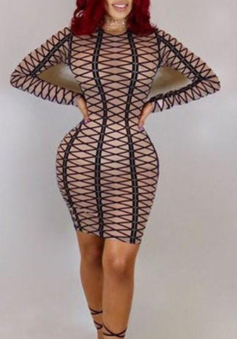 Brown Striped Long Sleeve Bodycon Clubwear Mini Dress