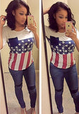 ByChicStyle White American Flag Print Independence Day Casual T-Shirt