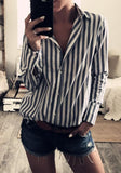 ByChicStyle Black-White Striped Single Breasted Turndown Collar Fashion Blouse