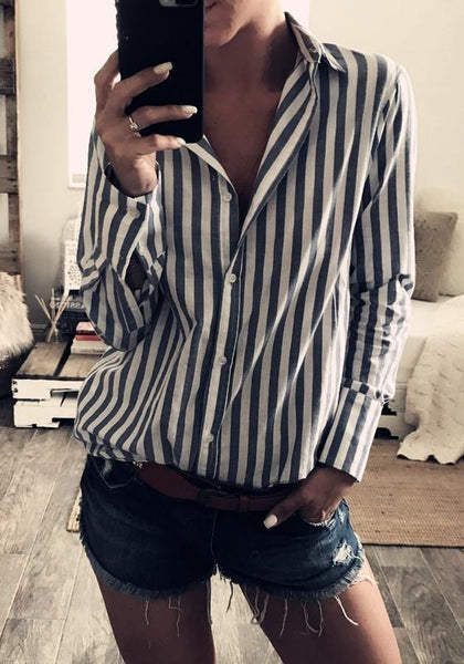 Black-White Striped Single Breasted Turndown Collar Fashion Blouse
