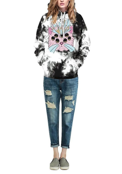 Black Animal Print Pockets Hooded Long Sleeve Halloween Pullover Sweatshirt