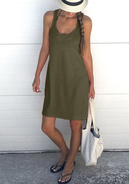 Army Green Shoulder-Strap U-neck Sleeveless Loose Casual Midi Dress