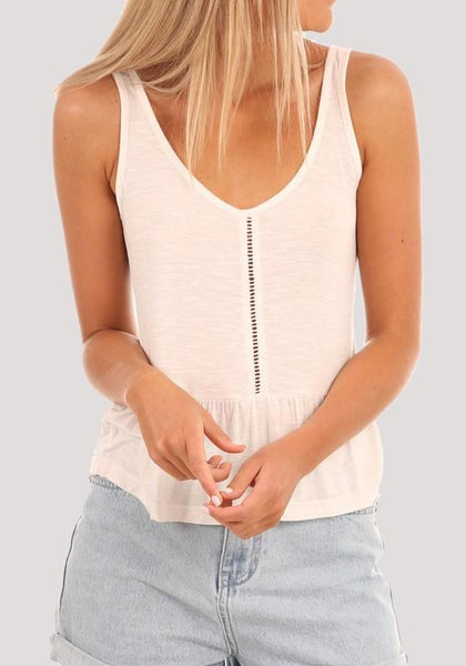 Beige Cut Out Pleated V-neck Casual Going out Vest