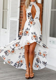 ByChicStyle White Floral Cut Out Swallowtail Round Neck Fashion Midi Dress