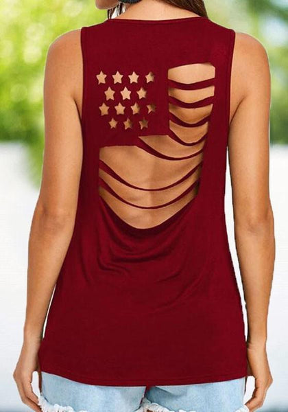 Burgundy American Flag Cut Out Backless Casual Independence Day T-Shirt