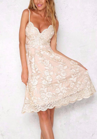 Apricot Floral Embroidery Lace Zipper Backless Spaghetti Strap Party Midi Dress