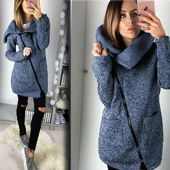 Blue Pockets Turndown Collar Zipper Casual Cotton Coat