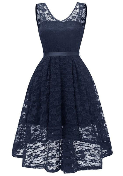 Navy Blue Lace Draped Sashes Bow V-neck Banquet Elegant Party Midi Dress