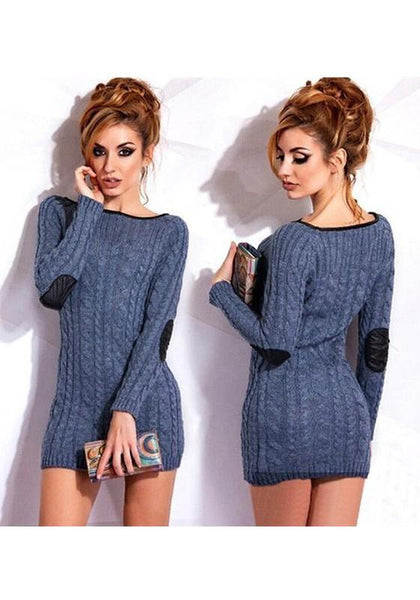 Dark Blue Round Neck Long Sleeve Fashion Pullover Sweater