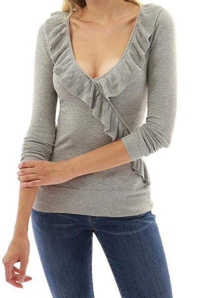 Grey Ruffle V-neck Long Sleeve Fashion T-Shirt