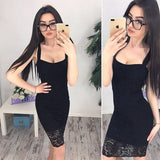 ByChicStyle Black Patchwork Lace Backless Spaghetti Strap Homecoming Party Midi Dress