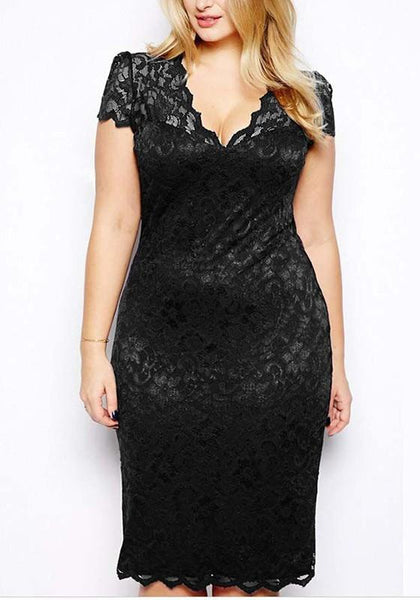 Black Patchwork Lace V-neck Short Sleeve Elegant Midi Dress