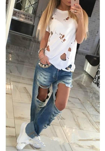 White Plain Hollow-out Round Neck Short Sleeve Casual Cotton Ripped T-Shirt