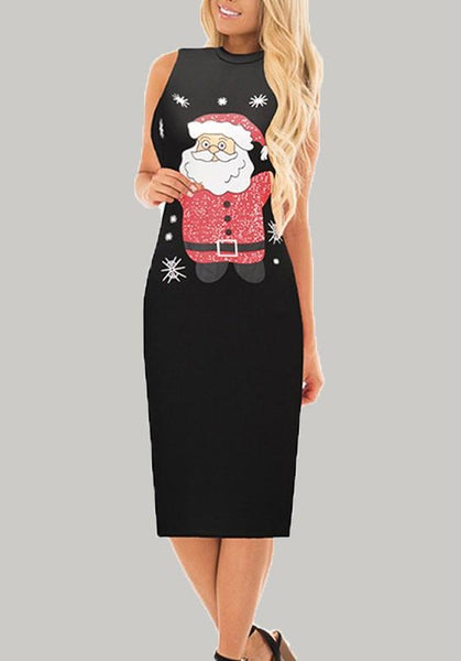 Black Santa Claus Print Sleeveless Party Loungewear Casual Midi Dress