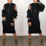 ByChicStyle Black Patchwork Grenadine Ruffle Round Neck Long Sleeve Bodycon Party Midi Dress