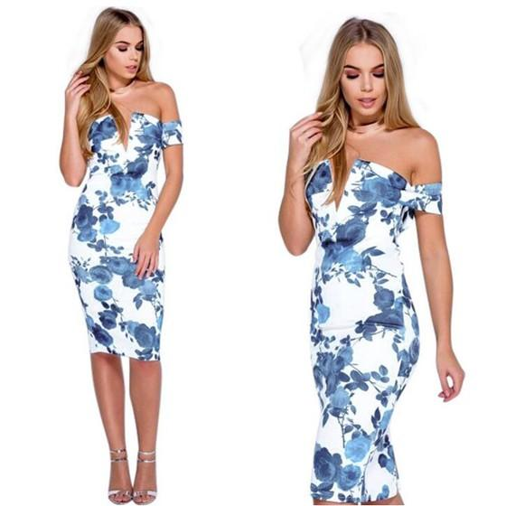 Sapphire Blue Floral Print Bandeau Off Shoulder Backless Bodycon Midi Dress