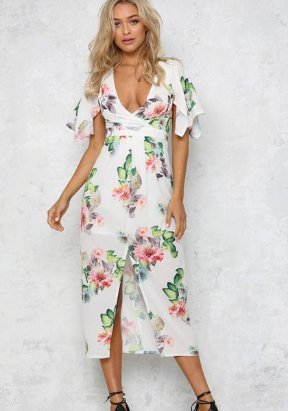 White Print Irregular Slit Plunging Neckline Short Sleeve Midi Dress