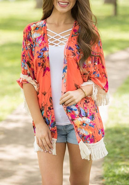 Red Floral Tassel Fringe Cardigan Boho Beach Kimono Cover Up Casual Cardigan Coat
