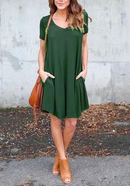 Green Pockets Draped V-neck Going out Casual Midi Dress