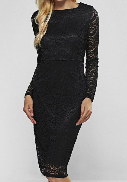Black Patchwork Lace Round Neck Long Sleeve Bodycon Midi Dress