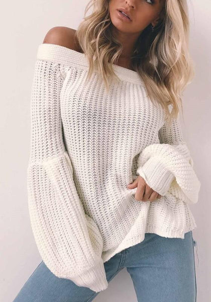 White Off Shoulder Knit Bell Sleeve Homecoming Party Fashion Pullovers