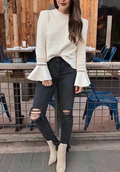 Black Cut Out Ripped Destroyed High Waisted Mom Casual Boyfriend Long Jeans