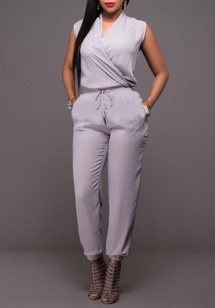 Grey Drawstring Pockets Two Piece V-neck Going out Long Jumpsuit