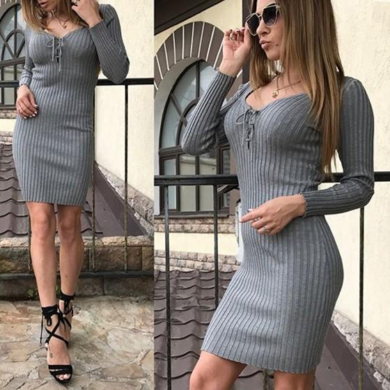 Grey Drawstring Draped Scoop Neck Long Sleeve Sweet Mini Dress