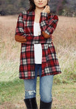 ByChicStyle Red-White Plaid Print Pockets Long Sleeve Casual Blouse