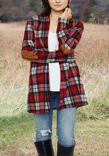 Red-White Plaid Print Pockets Long Sleeve Casual Blouse