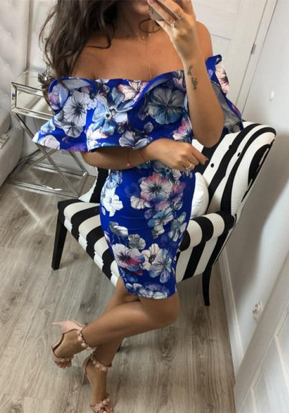 Blue Floral Print Boat Neck Short Sleeve Fashion Midi Dress