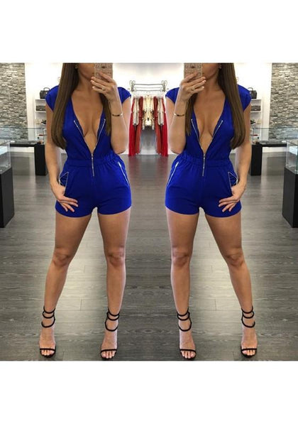 Blue Zipper Pockets Sewing Mid-rise Fashion Short Jumpsuit